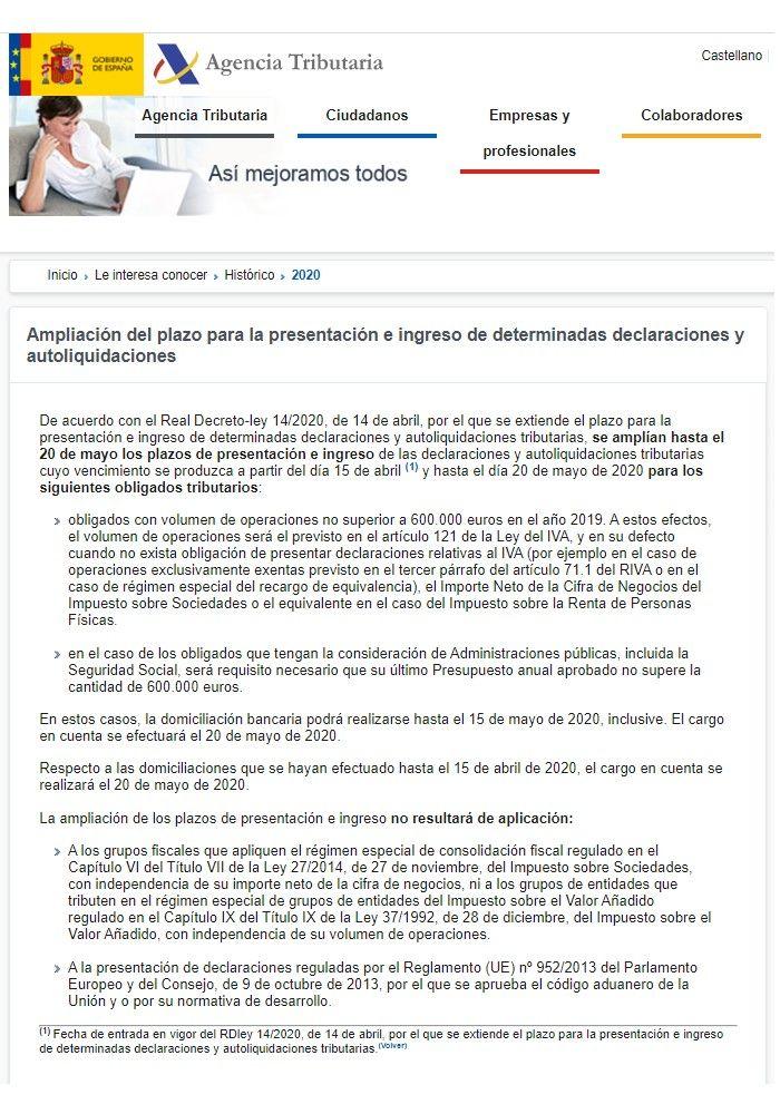 Nota aclaratoria de la Agencia Tributaria sobre la ampliación del plazo de impuestos