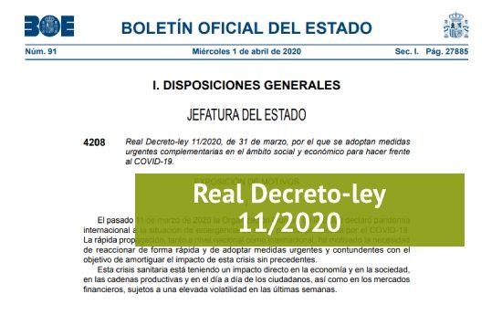 Real Decreto-ley 11/2020. Medidas sociales y económicas ...