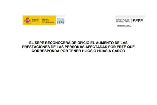 Comunicado del SEPE prestación por ERTE con hijos a cargo