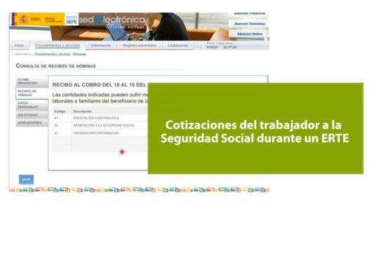 Cotizaciones a la Seguridad Social por parte del trabajador durante un ERTE