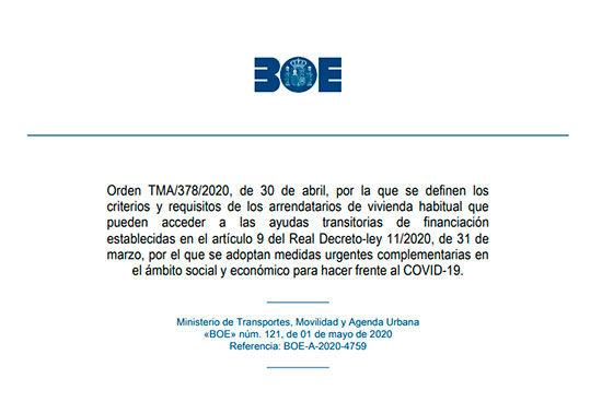 Orden TMA 378 2020
