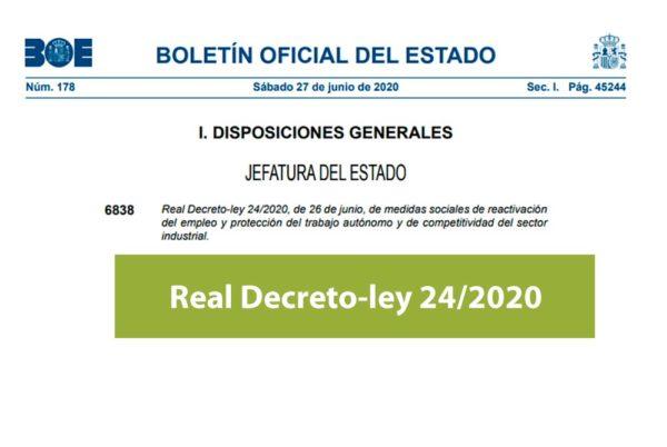 Real Decreto-ley 24/2020 reactivación del empleo y protección del trabajo autónomo