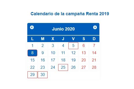 Calendario declaración de la renta en 2020