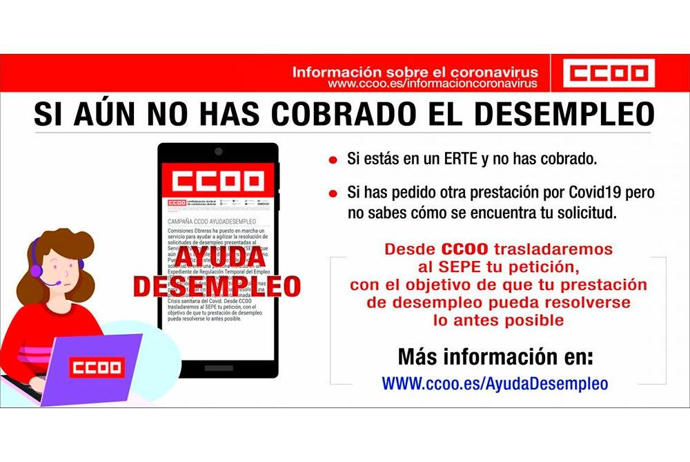 Ayuda CCOO trabajadores ERTE pendiente de cobrar