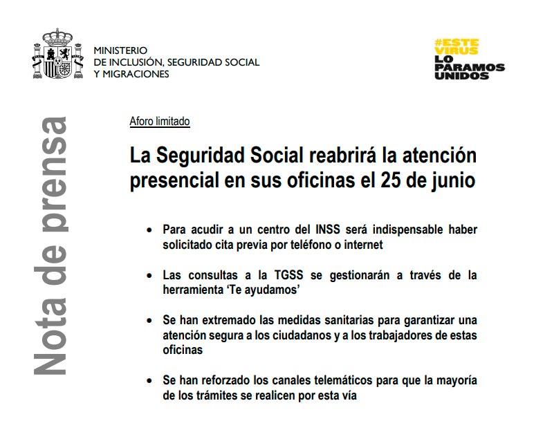 Nota de prensa de la Seguridad Social sobre la apertura de oficinas del  INSS y TGSS