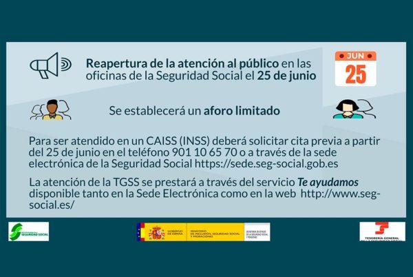 Las oficinas de la Seguridad Social (INSS y TGSS) abrirán al público el 25 de junio