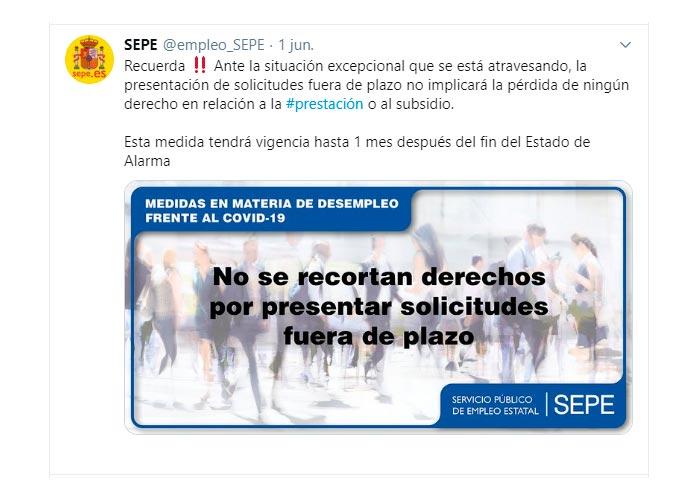 Presentación de solicitudes SEPE fuera de plazo