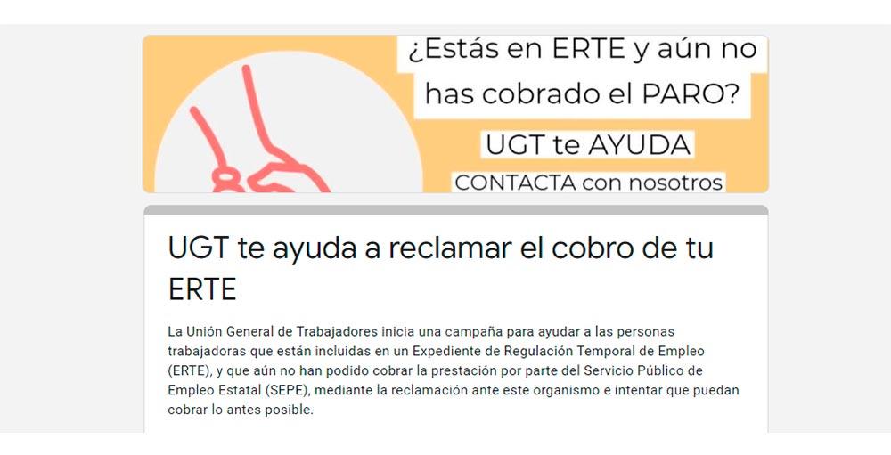 UGT formulario reclamación ERTE