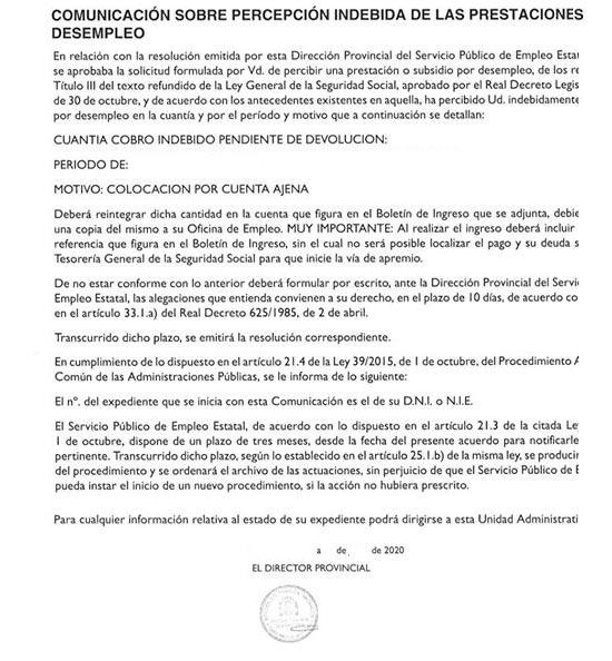 Carta SEPE con devolución cobros indebidos