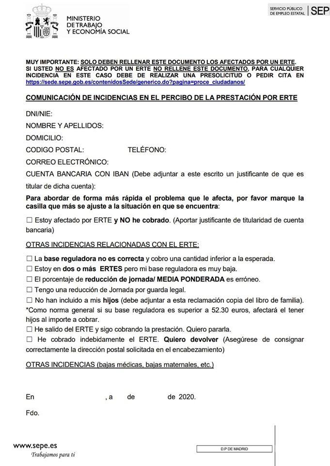 Formulario para comunicar incidencias con los ERTE