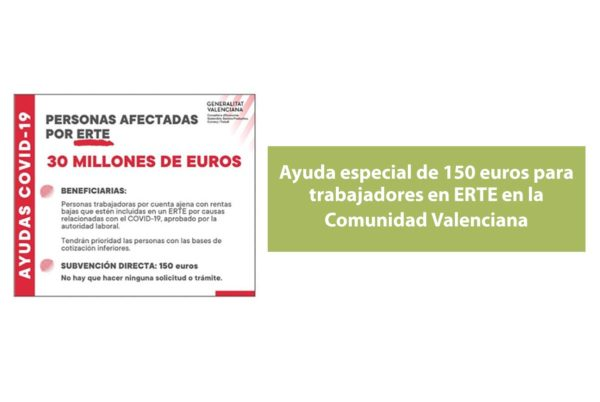 La Generalitat Valenciana abona la ayuda de 150 euros a trabajadores en ERTE