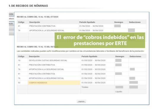 Mensajes de error cobros indebidos en ERTE sede electrónica