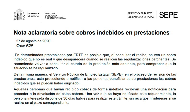 Nota SEPE sobre cobros indebidos de prestaciones por ERTE