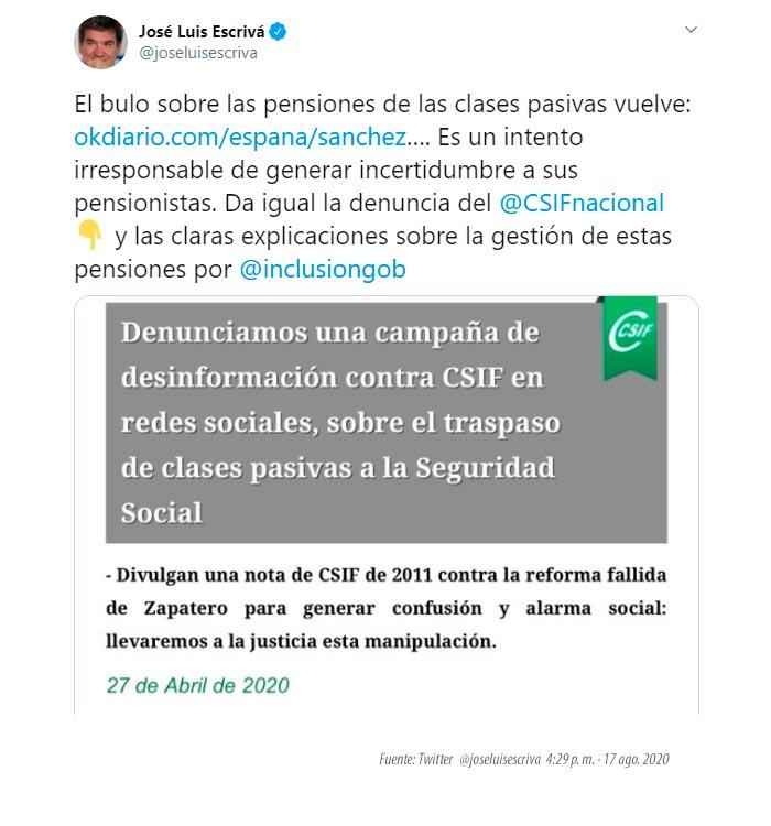 Twitter ministro seguridad social