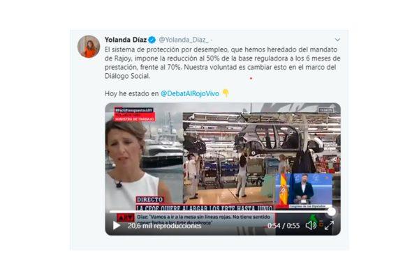 Yolanda Díaz anuncia que el gobierno mantendrá el 70% de prestación en los ERTE