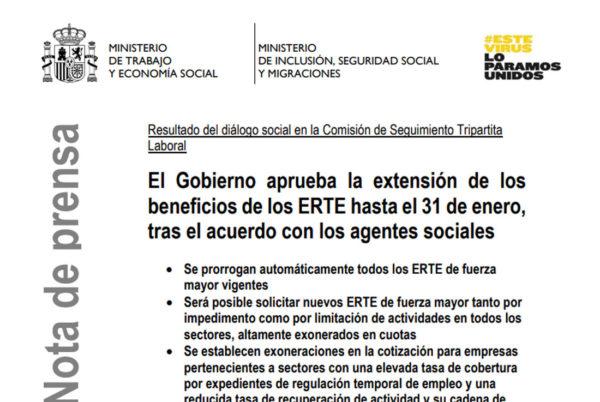 Guía básica de la prórroga de los ERTE hasta el 31 de enero de 2021