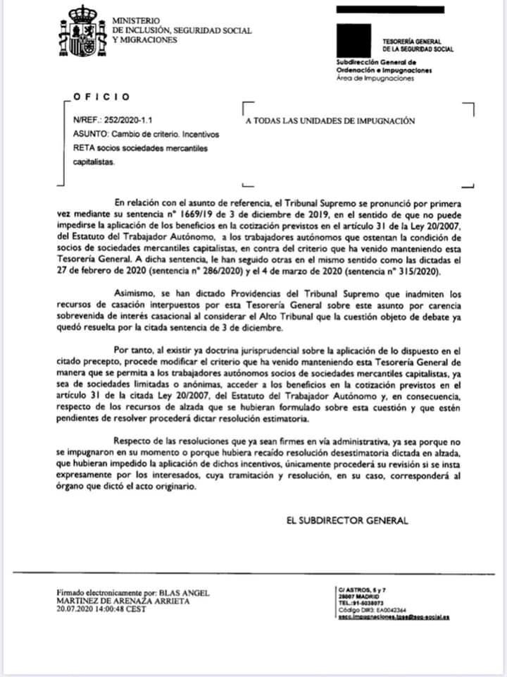 Oficio Tesorería Seguridad Social tarifa plana autonomos