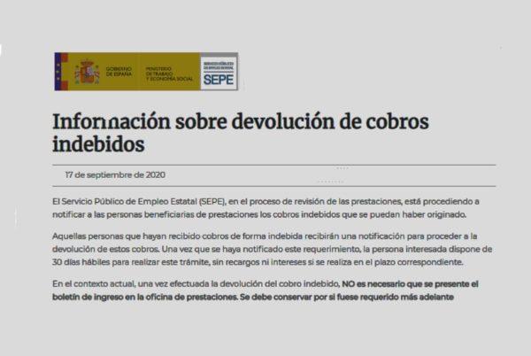 Información del SEPE sobre devolución de cobros indebidos por ERTE