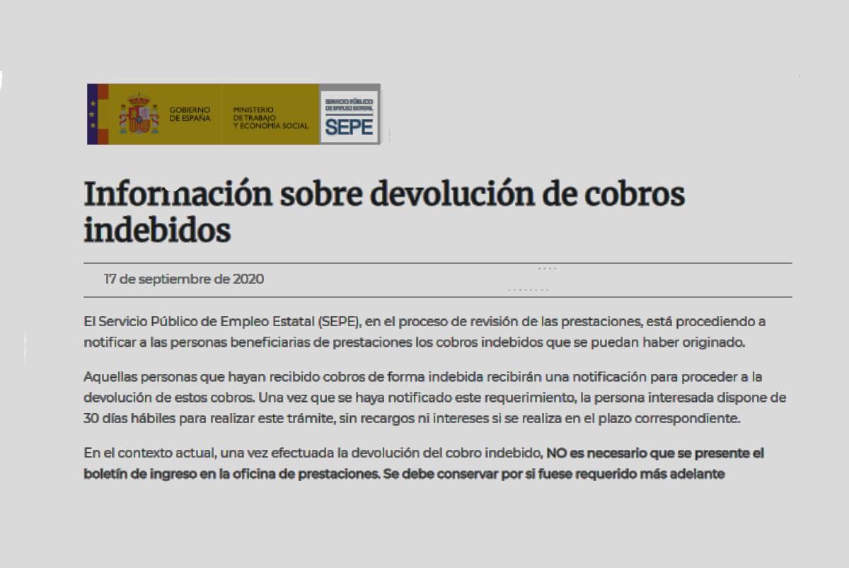 Plazo devolución cobros indebidos por ERTE