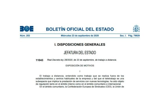 Portada BOE RDL 28-2020