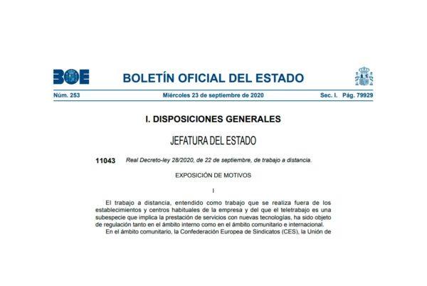 Real Decreto-ley 28/2020, de 22 de septiembre, de trabajo a distancia