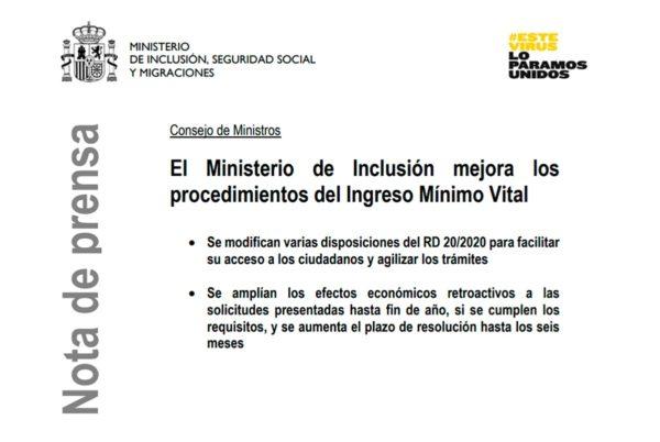 El gobierno amplía plazos y simplifica las solicitudes del Ingreso Mínimo Vital