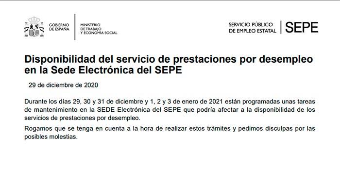 Paradas por mantenimiento web SEPE