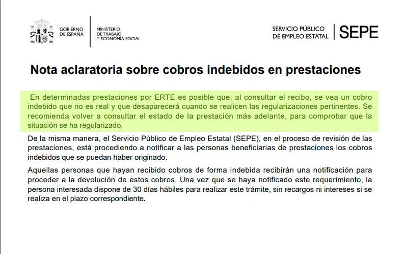 Nota aclaratoria SEPE sobre datos erróneos en las prestaciones por ERTE