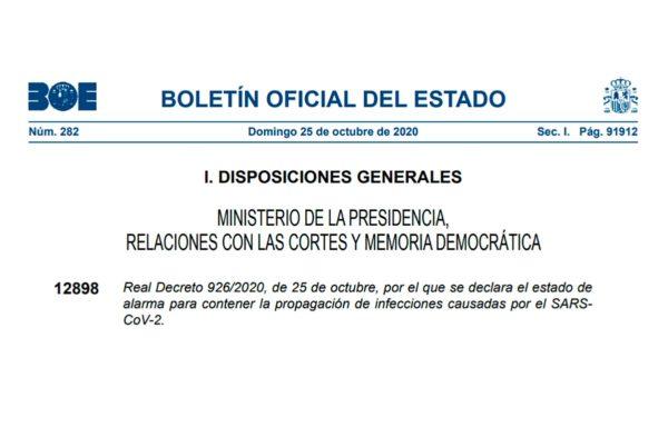 Real Decreto 926/2020, de 25 de octubre, por el que se declara el estado de alarma