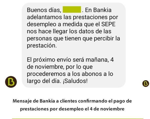 Bankia confirma pago paro 4 de noviembre