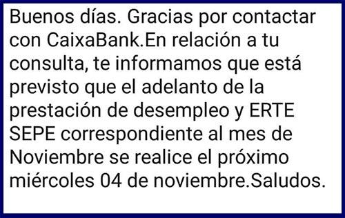 Caixabank confirma cobro paro día 4 noviembre