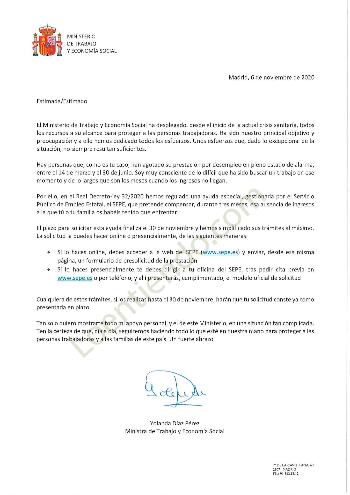 Carta Ministra de Trabajo sobre subsidio especial por covid-19