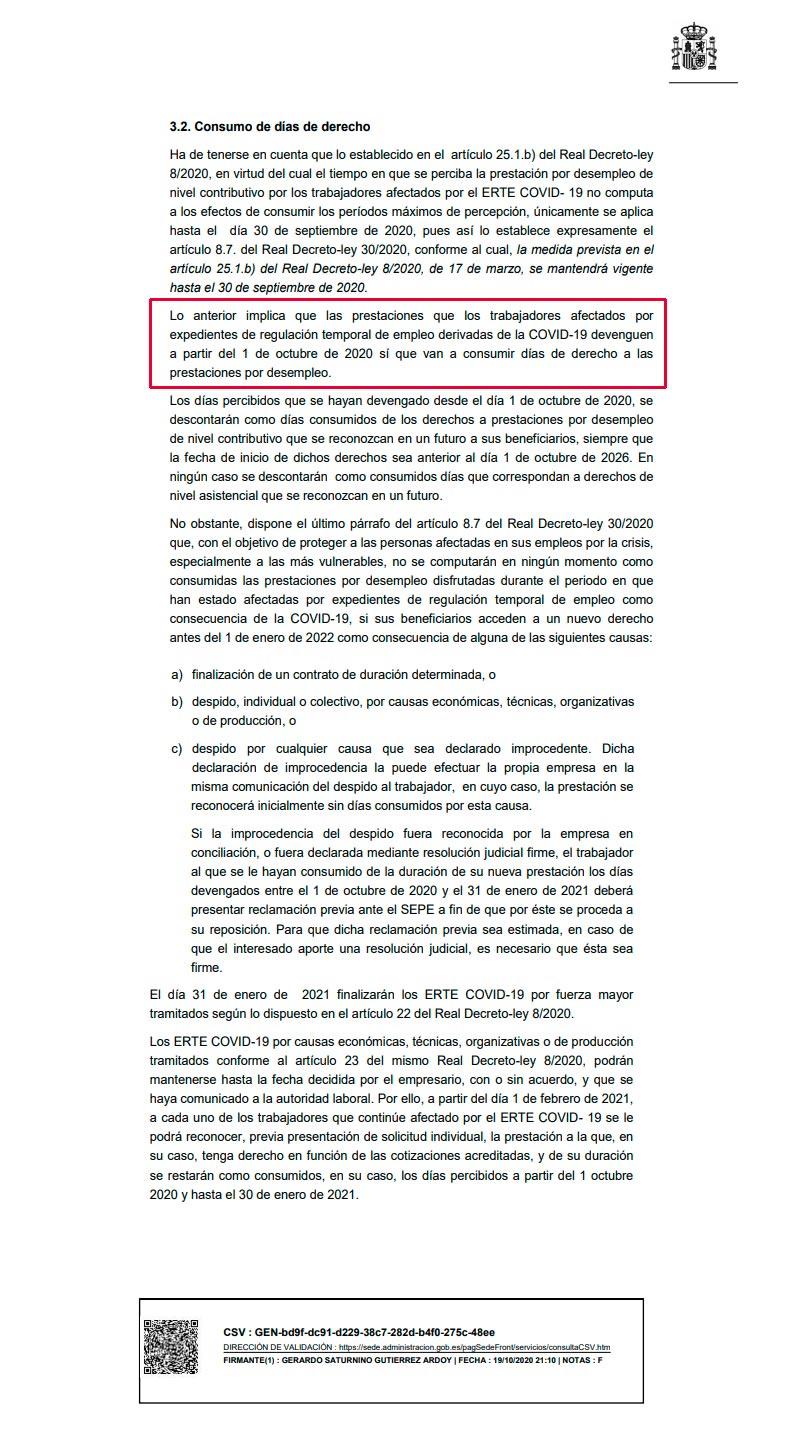 Criterio interpretación SEPE RDL 30/2020