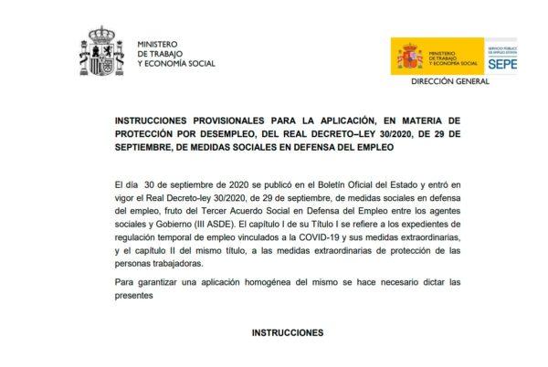 Instrucciones provisionales del SEPE para la aplicación del Real Decreto-ley 30/2020