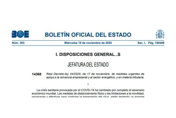 Real Decreto-ley 34/2020, de 17 de noviembre