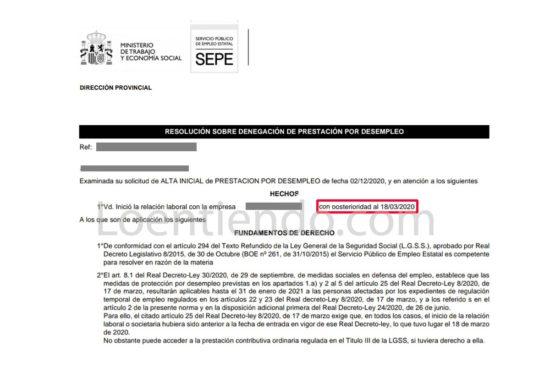 El SEPE cambia criterios de reconocimiento de los ERTE