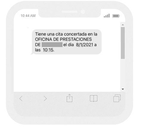 SMS de confirmación de la cita previa
