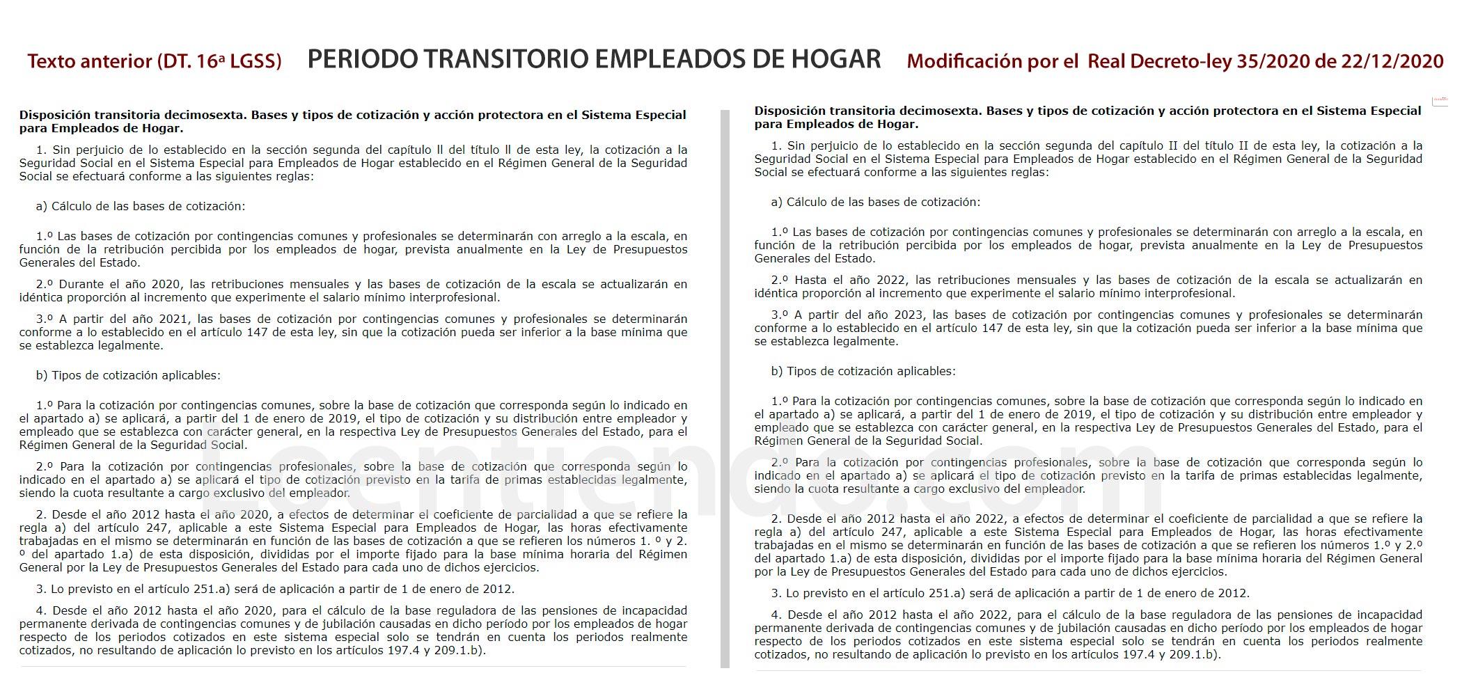 Retraso dos años periodo transitorio empleadas de hogar