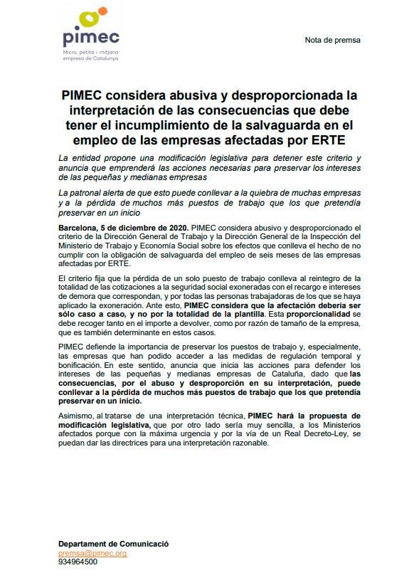 Nota de prensa de pimec