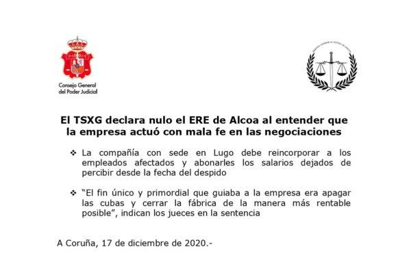 La Justicia declara nulo el ERE de ALCOA por mala fe de la empresa