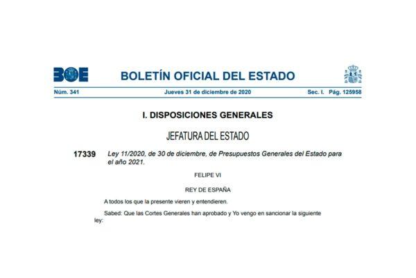 Ley 11/2020 de Presupuestos Generales del Estado para el año 2021