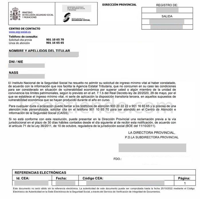 Resolución INSS rechazando solicitud Ingreso Mínimo Vital