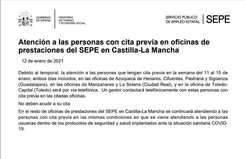 Cierre oficinas de empleo en Castilla La Mancha entre el 11 y el 15 de enero