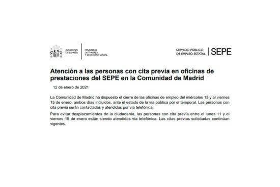 Cierre oficinas empleo Madrid y Castilla La Mancha por el temporal