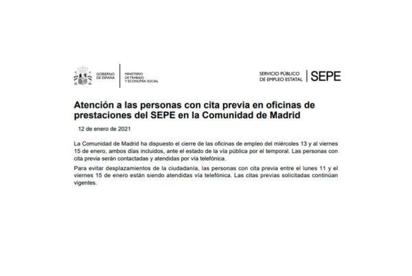 El SEPE cierra oficinas de empleo en Madrid y Castilla-La Mancha del 11 al 15 de enero