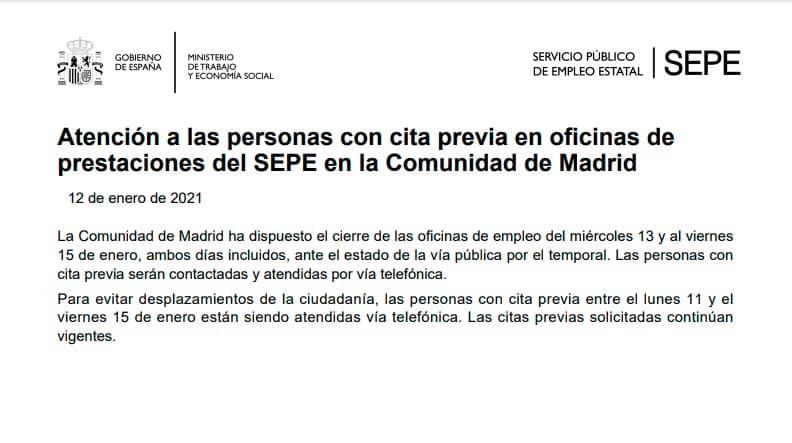 Cierre oficinas empleo Madrid hasta el viernes 15 de enero