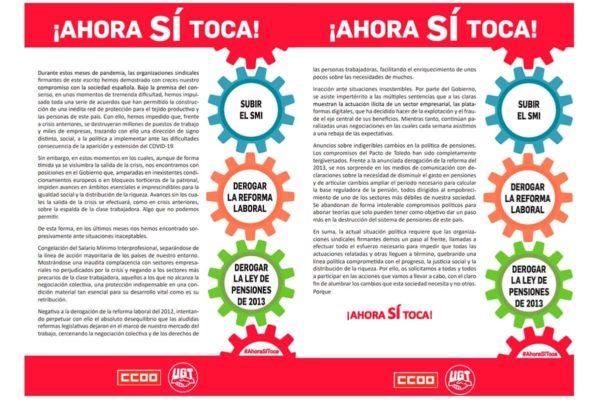 CCOO y UGT tensan la relación con el Gobierno anunciando movilizaciones el 11 de febrero