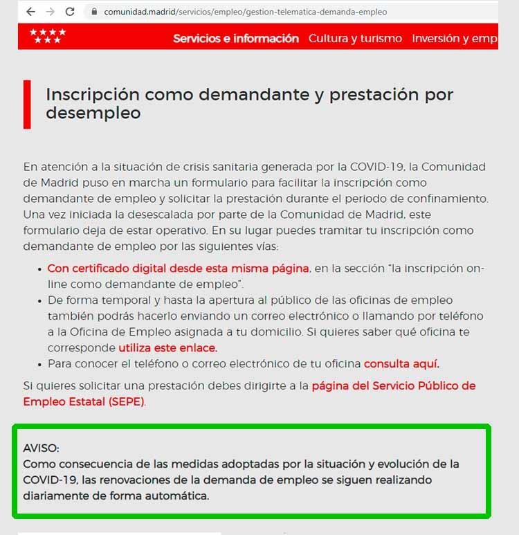 Renovación automática paro en Madrid
