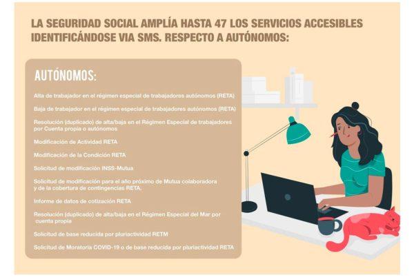 Trámites de la Seguridad Social disponibles para autónomos con envío de un SMS