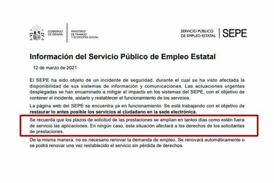 Suspensión plazos para solicitar prestaciones del SEPE